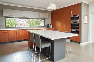 Kitchen island bench brown tones